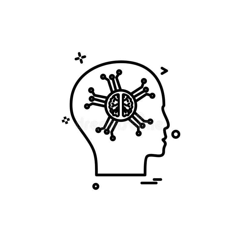 Konstgjord design för vektor för symbol för hjärnintelligensrobo vektor illustrationer