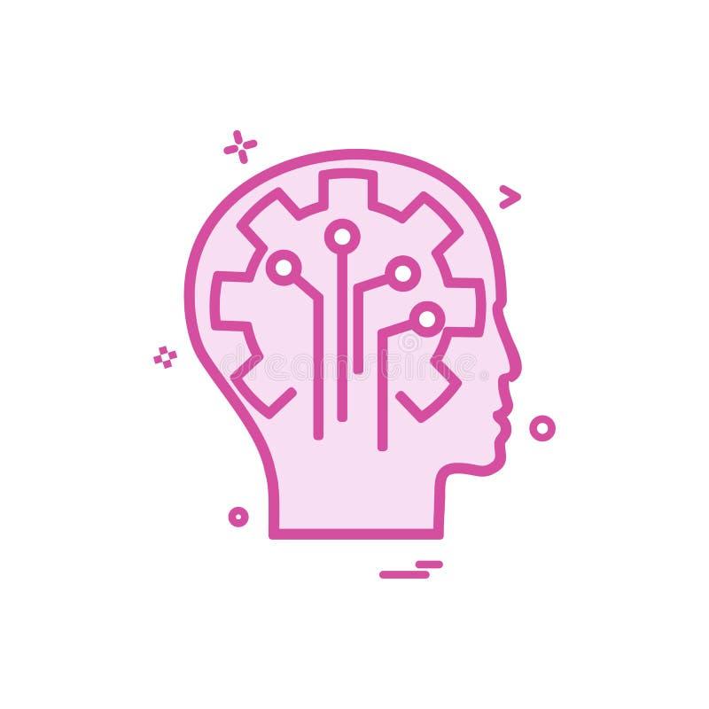 Konstgjord design för vektor för symbol för hjärnströmkretsintelligens royaltyfri illustrationer