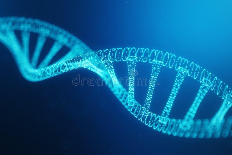 Konstgjord intelegenceDNAmolekyl DNA:t konverteras in i en digital kod Digital kodgenom abstrakt teknologi vektor illustrationer