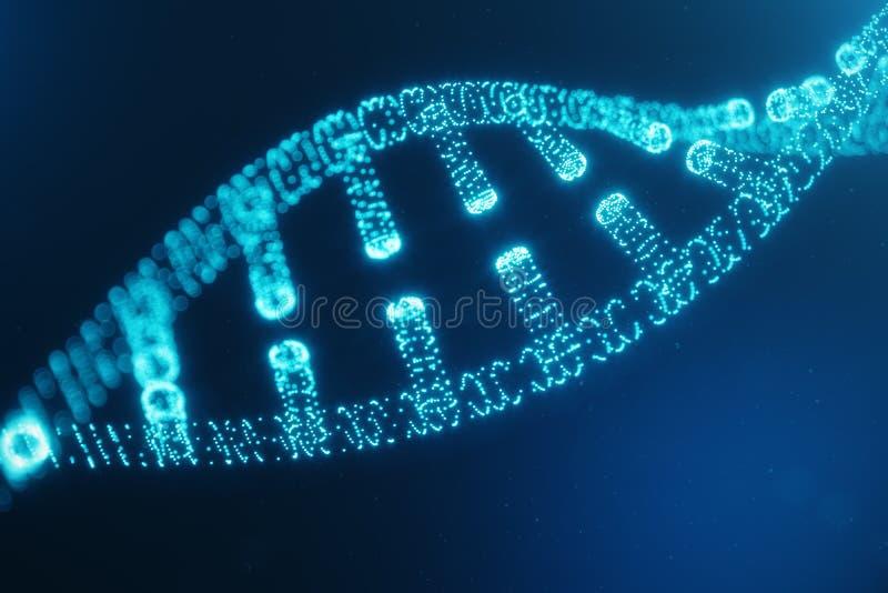 Konstgjord intelegenceDNAmolekyl DNA:t konverteras in i en digital kod Digital kodgenom abstrakt teknologi arkivfoto