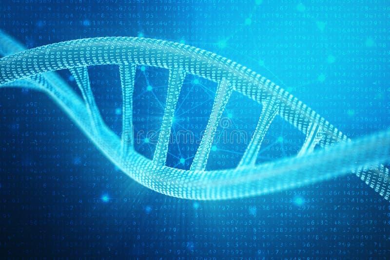 Konstgjord intelegenceDNAmolekyl Genom för binär kod för begrepp Abstrakt teknologivetenskap, konstgjord Dna för begrepp 3d royaltyfri illustrationer