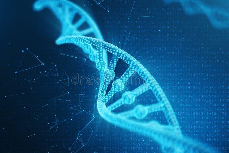 Konstgjord intelegenceDNAmolekyl Genom för binär kod för begrepp Abstrakt teknologivetenskap, konstgjord Dna för begrepp 3d stock illustrationer