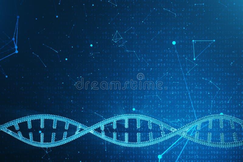 Konstgjord intelegenceDNAmolekyl Genom för binär kod för begrepp Abstrakt teknologivetenskap, konstgjord Dna för begrepp 3d royaltyfri foto
