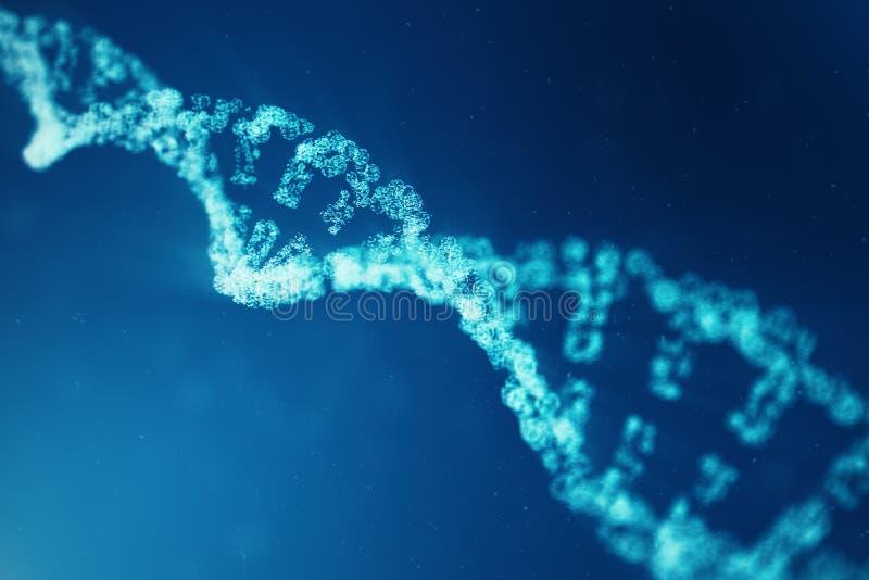 Konstgjord intelegenceDNAmolekyl Genom för binär kod för begrepp Abstrakt teknologivetenskap, konstgjord Dna för begrepp 3d arkivbild