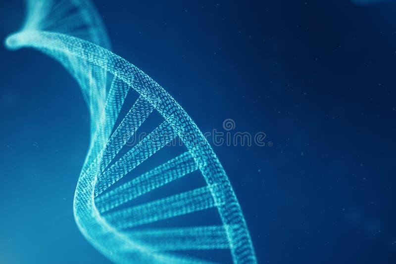 Konstgjord intelegenceDNAmolekyl Genom för binär kod för begrepp Abstrakt teknologivetenskap, konstgjord Dna för begrepp 3d arkivfoto