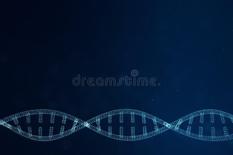 Konstgjord intelegenceDNAmolekyl Genom för binär kod för begrepp Abstrakt teknologivetenskap, konstgjord Dna för begrepp 3d royaltyfri bild