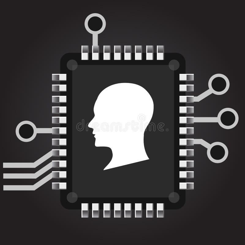 konstgjord intelligens Översikt för mänskligt huvud med processorn för chip för strömkretsbräde inom teknologi och elektroniskt b royaltyfri illustrationer