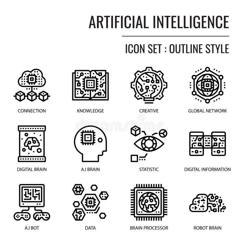 konstgjord intelligens royaltyfri illustrationer