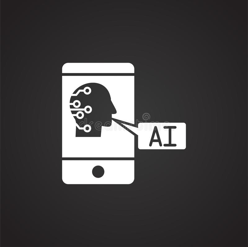 Konstgjord intelligens Ai gällde symbolen på bakgrund för diagram och rengöringsdukdesign enkel terminal f?r flygplanillustration royaltyfri illustrationer