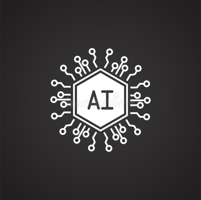Konstgjord intelligens Ai gällde symbolen på bakgrund för diagram och rengöringsdukdesign enkel terminal f?r flygplanillustration stock illustrationer