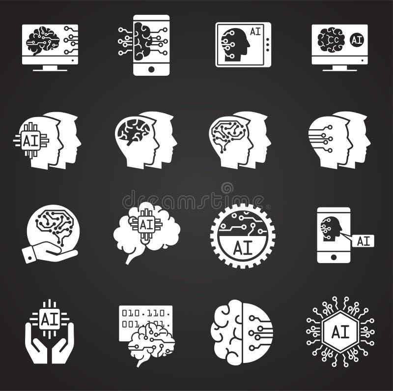 Konstgjord intelligens Ai gällde symboler ställde in på bakgrund för diagram och rengöringsdukdesign enkel terminal f?r flygplani vektor illustrationer