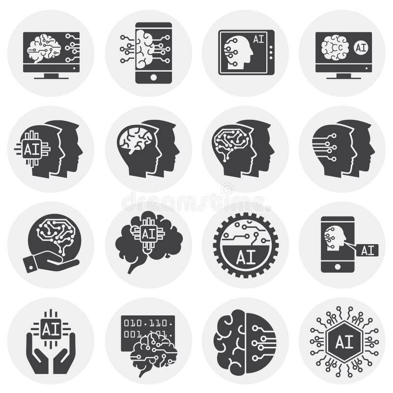 Konstgjord intelligens Ai gällde symboler ställde in på bakgrund för diagram och rengöringsdukdesign enkel terminal f?r flygplani stock illustrationer