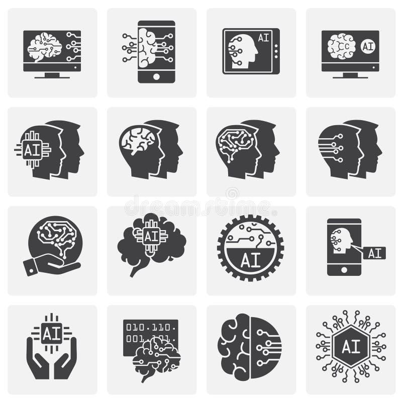 Konstgjord intelligens Ai gällde symboler ställde in på bakgrund för diagram och rengöringsdukdesign enkel terminal f?r flygplani royaltyfri illustrationer