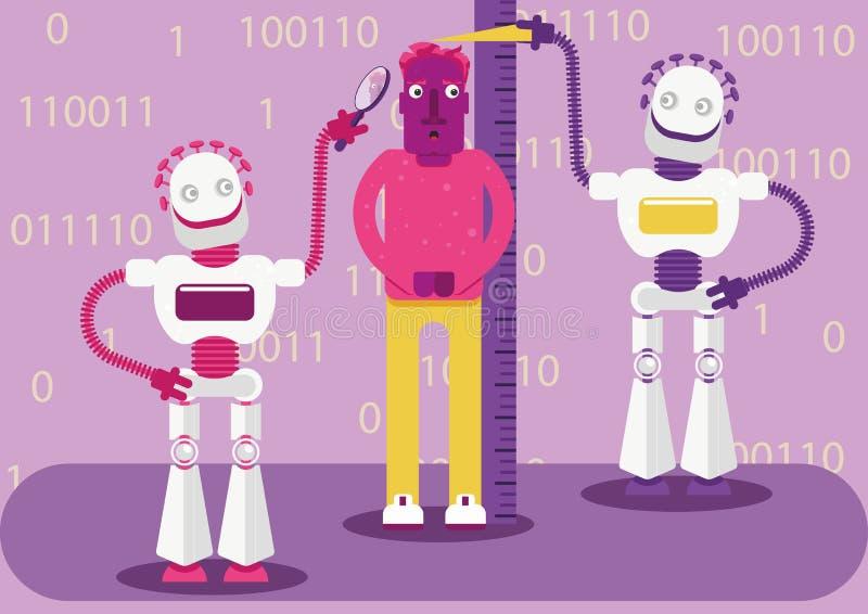 Konstgjord intelligens avkänner vår aktivitet i internet och skapar bilden av vem vi är och vad vi gillar royaltyfri illustrationer