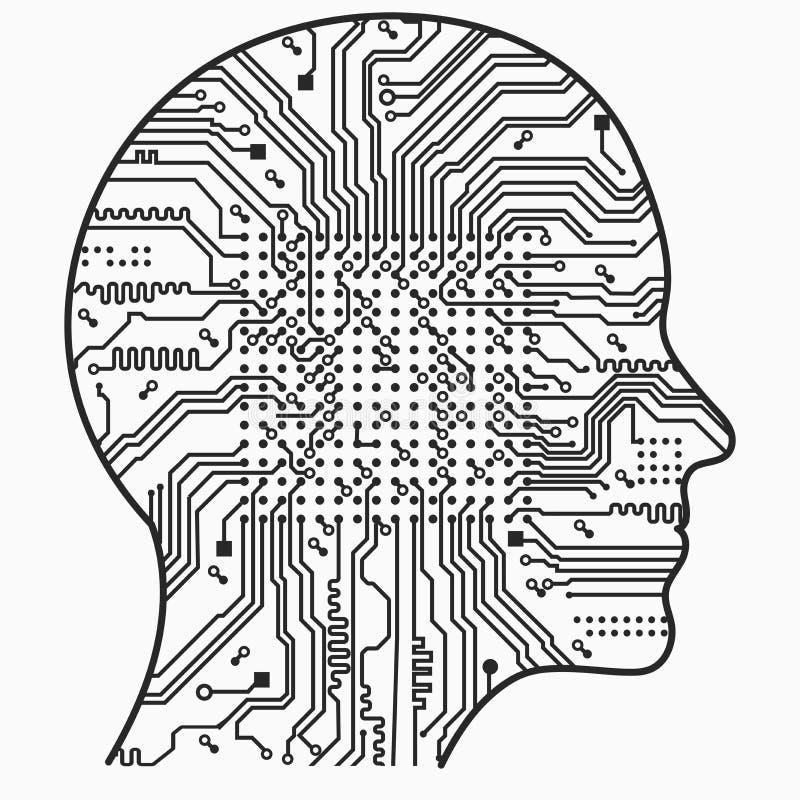 konstgjord intelligens Bilden av översikter för mänskligt huvud, insidan av som där är ett abstrakt strömkretsbräde vektor illustrationer