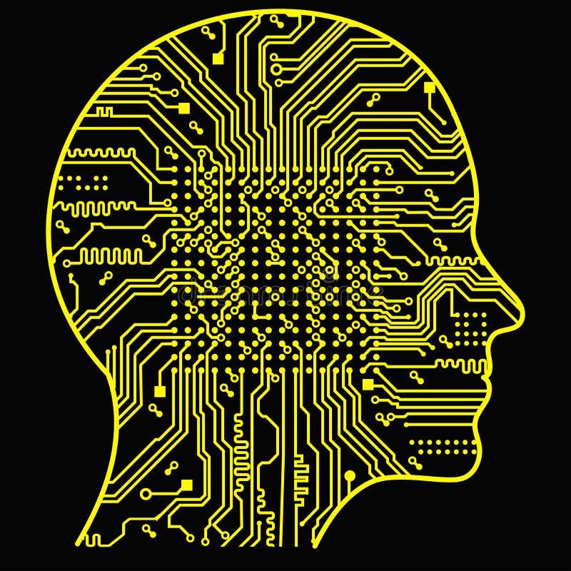 konstgjord intelligens Bilden av översikter för mänskligt huvud, insidan av som där är ett abstrakt strömkretsbräde royaltyfri illustrationer