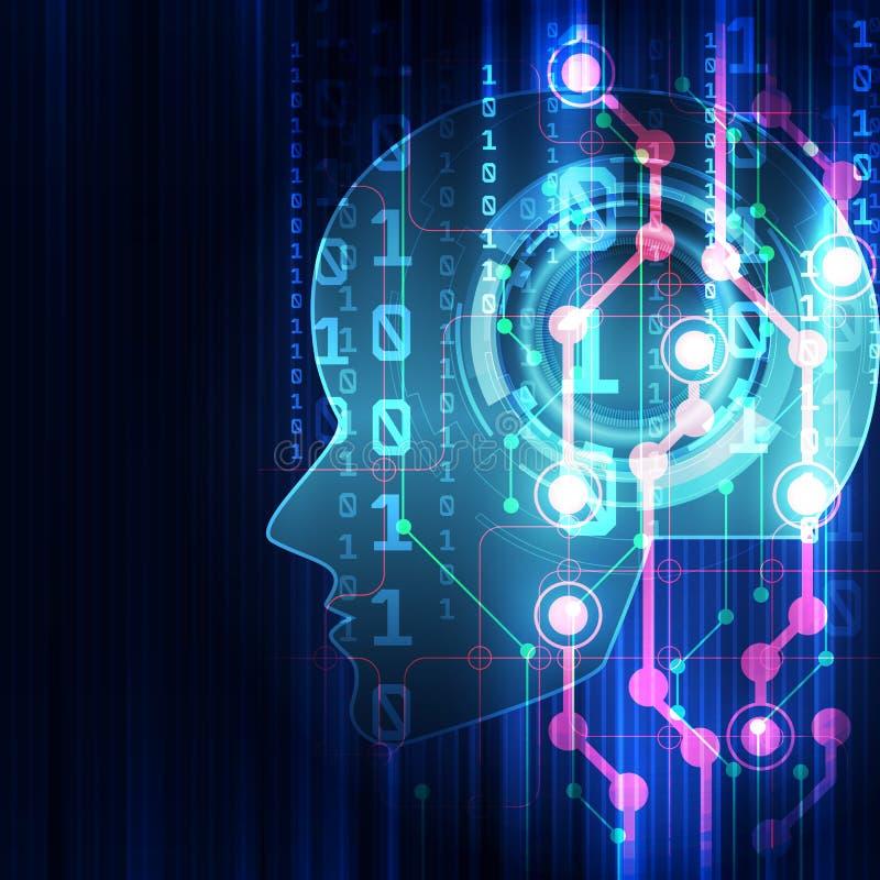 konstgjord intelligens Digital teknologi för AI i framtid Faktiskt begrepp leaves för illustration för bakgrundsblommor mjölkar n vektor illustrationer