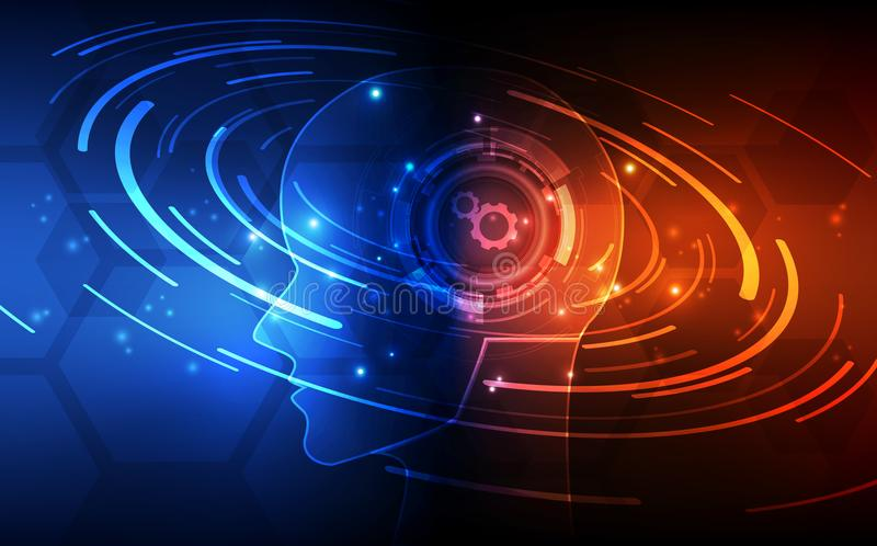 konstgjord intelligens Digital teknologi för AI i framtid Faktiskt begrepp leaves för illustration för bakgrundsblommor mjölkar n stock illustrationer