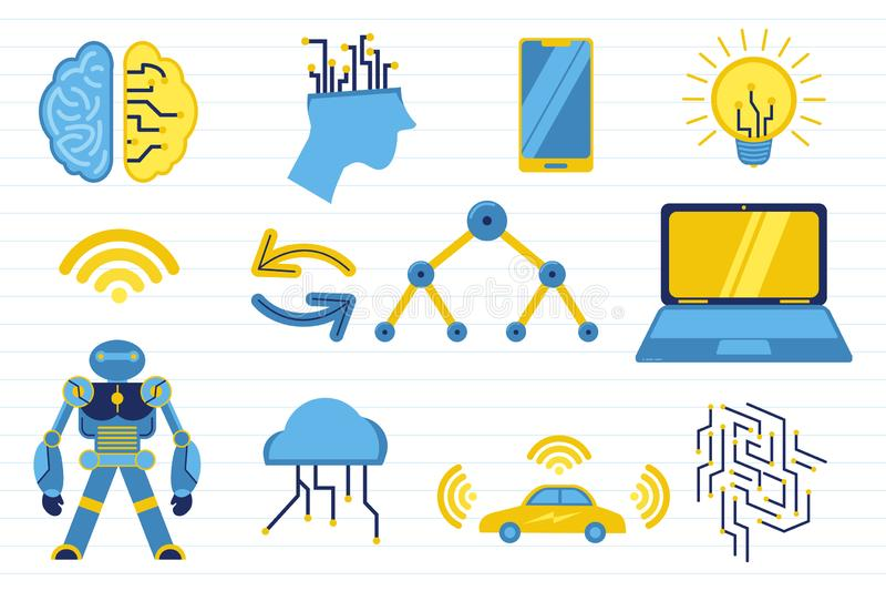 Konstgjord intelligens för Ai med den olika objekt och papperslinjen bakgrund - vektorillustration royaltyfri illustrationer