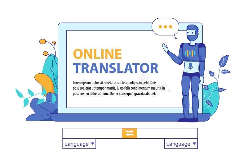 Konstgjord intelligens för Bot för online-översättning stock illustrationer