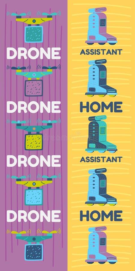 Konstgjord intelligens för hem- assistentrobot vektor illustrationer