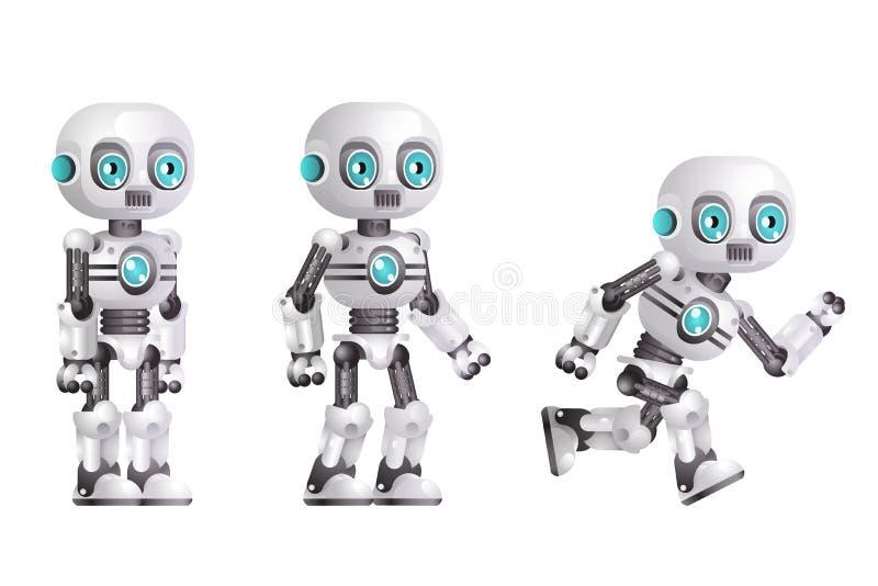 Konstgjord intelligens för litet gulligt modernt för androidkörningsställning som tecken för robot isoleras på realistisk vit bak vektor illustrationer