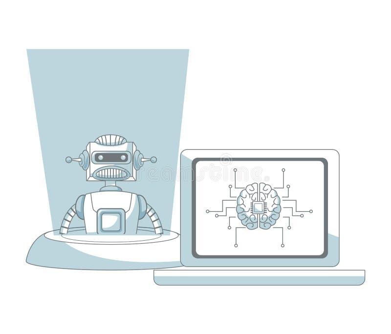 Konstgjord intelligens för robot royaltyfri illustrationer