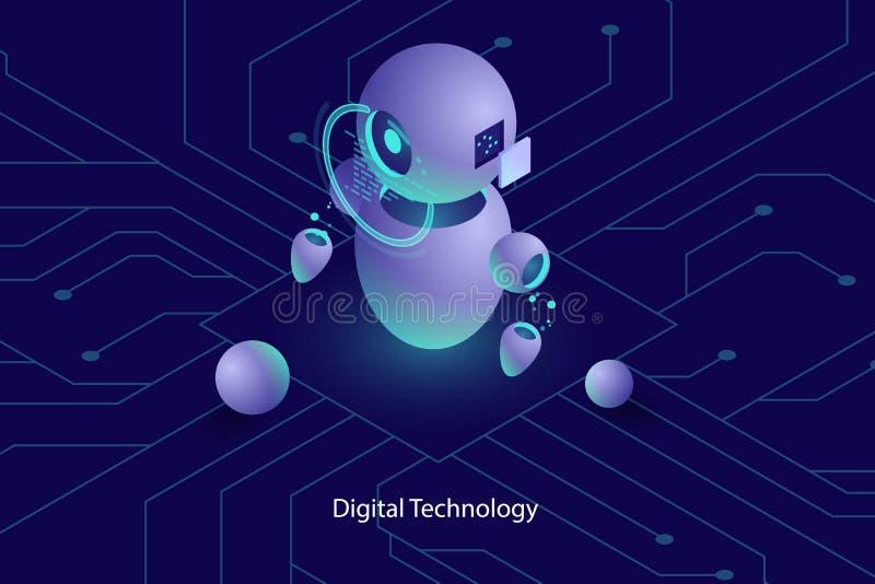 Konstgjord intelligens för robotai, online-konsultation och service, datateknik, automatiserat system av analys och stock illustrationer