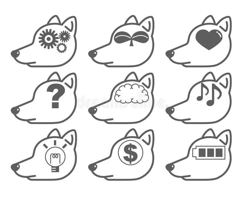 Konstgjord intelligens - Hund-sida för ` för AI-symbolsuppsättning `, royaltyfri illustrationer