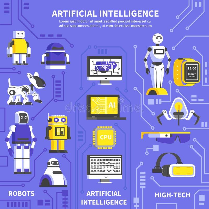 Konstgjord intelligens Infographics vektor illustrationer