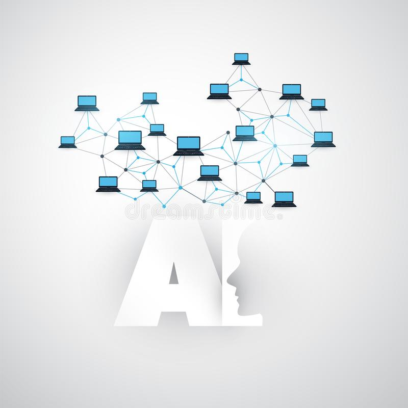 Konstgjord intelligens, internet av saker och smart teknologibegreppsdesign med AI-logo och datornät stock illustrationer