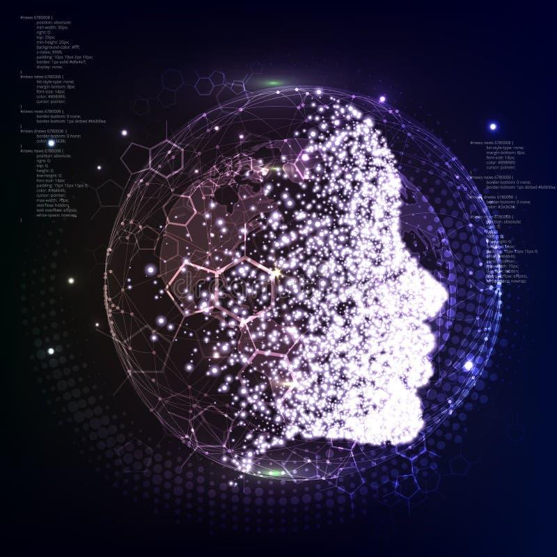 konstgjord intelligens Kvantfysiken Partiklarna samlas i framsidan för flicka` s vektor illustrationer