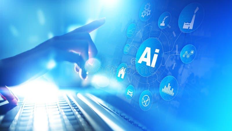 Konstgjord intelligens, lära för maskin, stor teknologi för automation för dataanalys i industriellt fabriks- begrepp royaltyfri bild
