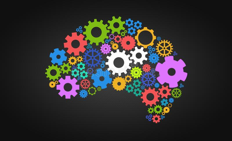 Konstgjord intelligens med form och kugghjul för mänsklig hjärna royaltyfri illustrationer