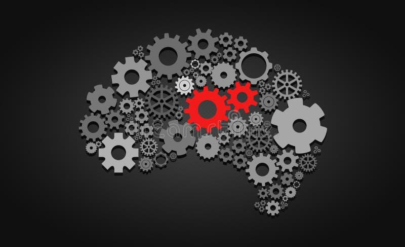 Konstgjord intelligens med form och kugghjul för mänsklig hjärna vektor illustrationer