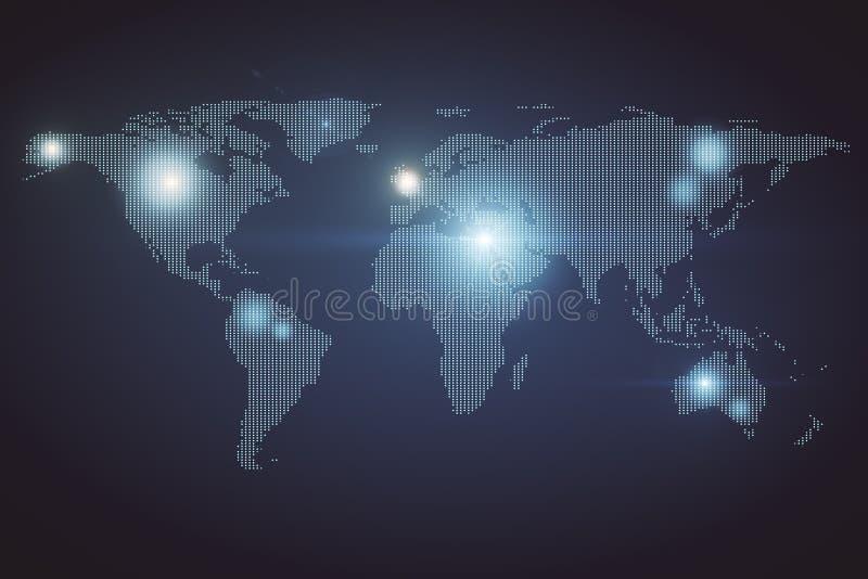 Konstgjord intelligens och globalt begrepp royaltyfri illustrationer