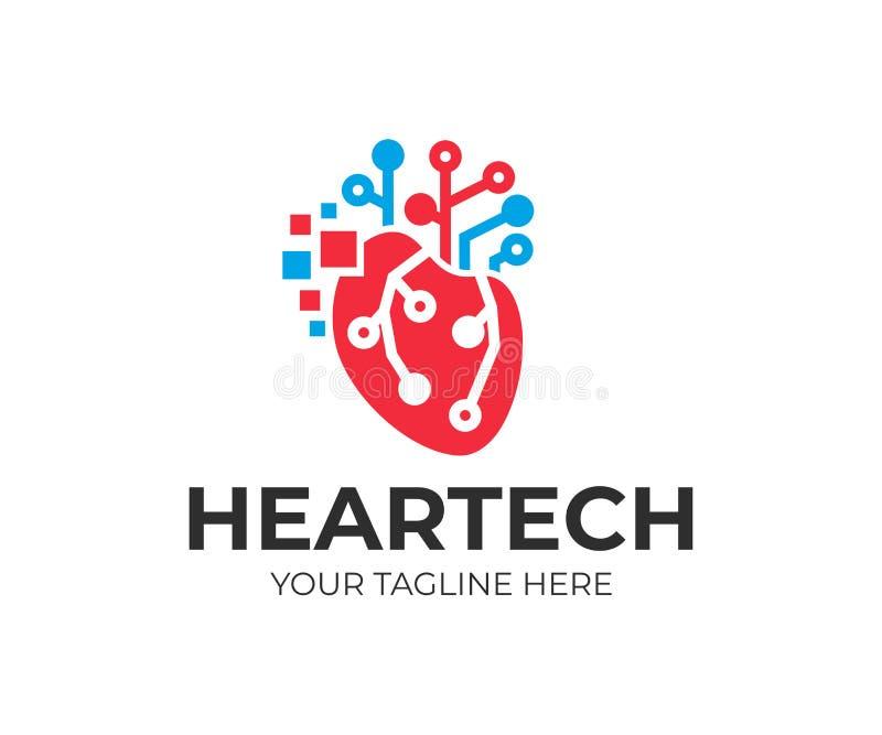 Konstgjord intelligens och teknologi, mänsklig hjärta med digitala PIXEL och strömkretselektronikraster, logodesign TeknologiCPU vektor illustrationer