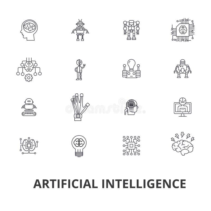 Konstgjord intelligens, robot, datorhjärna, teknik, cyborg, hjärna, androidlinje symboler Redigerbara slaglängder plant vektor illustrationer