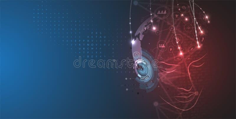 konstgjord intelligens Teknologirengöringsdukbakgrund Faktiskt conc stock illustrationer
