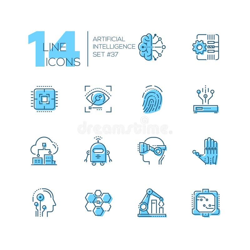 Konstgjord intelligens - uppsättning av linjen designstilsymboler stock illustrationer