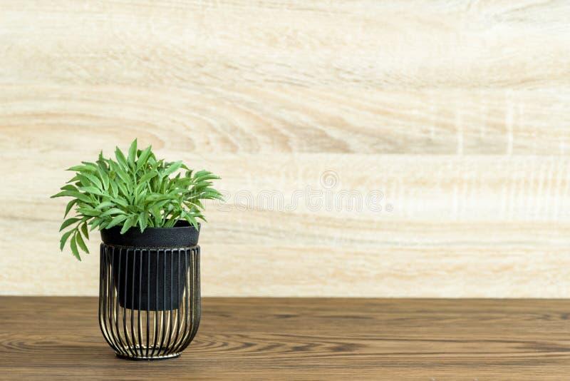 Konstgjord wood blomkruka på trätabellen, litet ljus - brun färg i rum royaltyfria foton