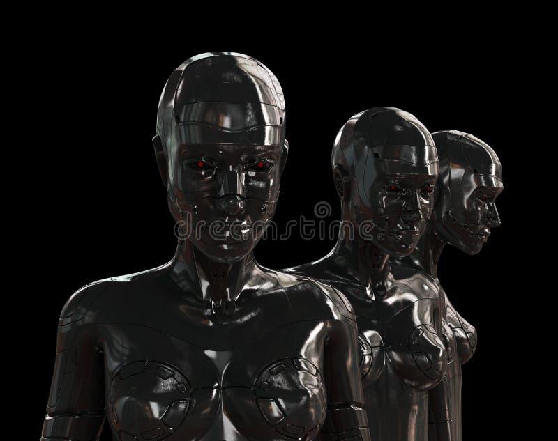 Konstgjorda flickor för metall på black 皇族释放例证