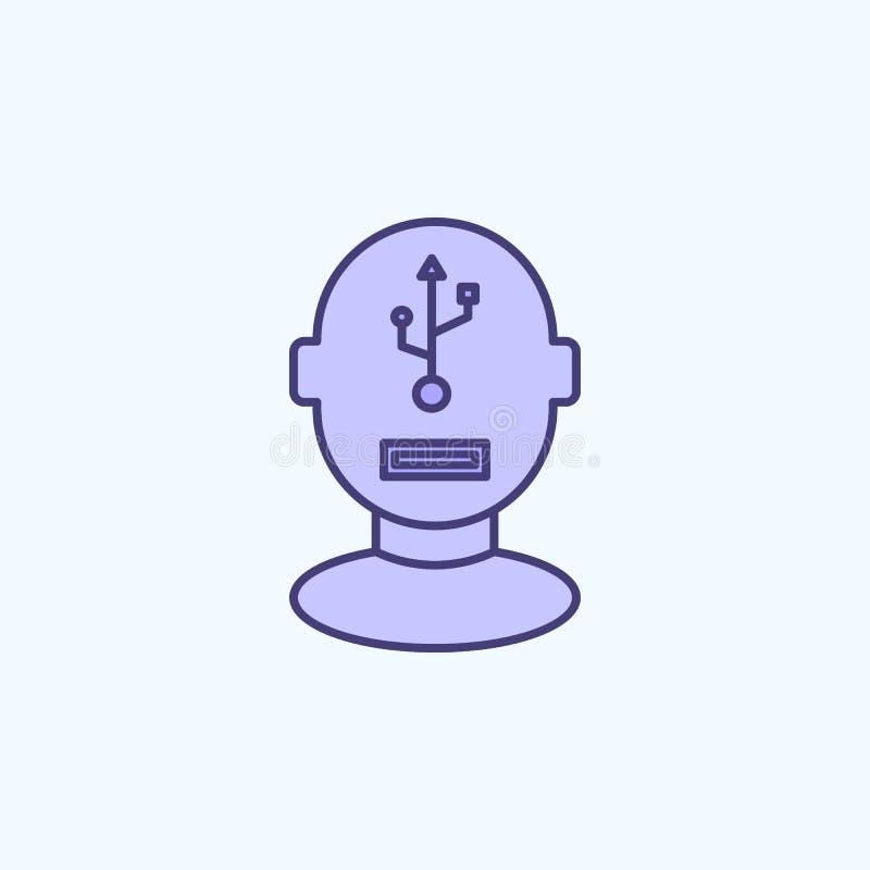 konstgjorda kulör linje symbol för hjärna 2 Enkel kulör beståndsdelillustration konstgjord design för hjärnöversiktssymbol från n stock illustrationer