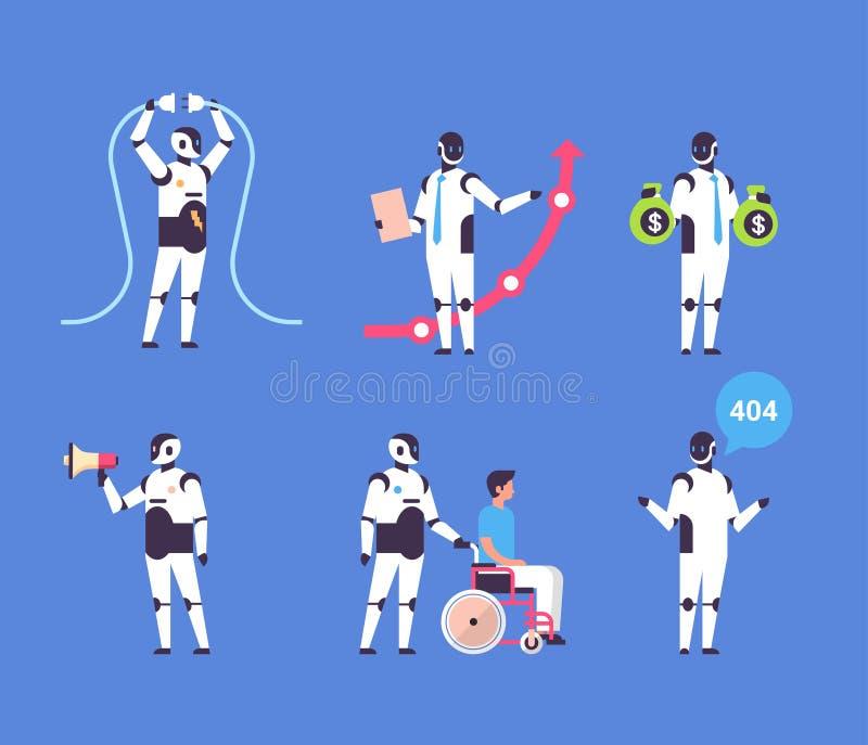 Konstgjort fastställt tecken för robot för samling för kommunikation för yrken för mångfald för personlig assistent för bothjälpr vektor illustrationer