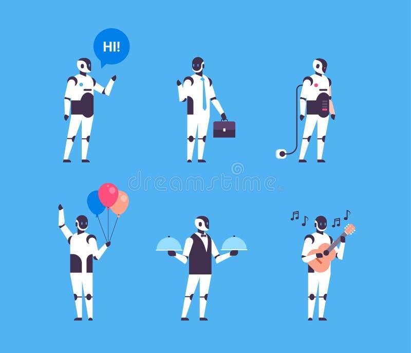 Konstgjort fastställt tecken för robot för samling för kommunikation för yrken för mångfald för personlig assistent för bothjälpr royaltyfri illustrationer