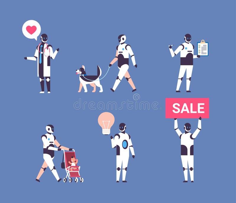Konstgjort fastställt tecken för robot för samling för kommunikation för yrken för mångfald för personlig assistent för bothjälpr stock illustrationer
