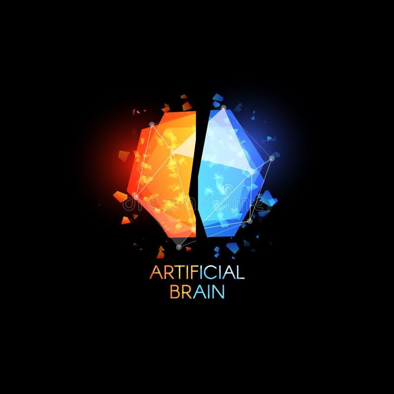 Konstgjort intellekt, hjärnlogo Färgrika abstrakta polygonal former för exponeringsglas med skärvor av exponeringsglas Vektorlogo royaltyfri illustrationer