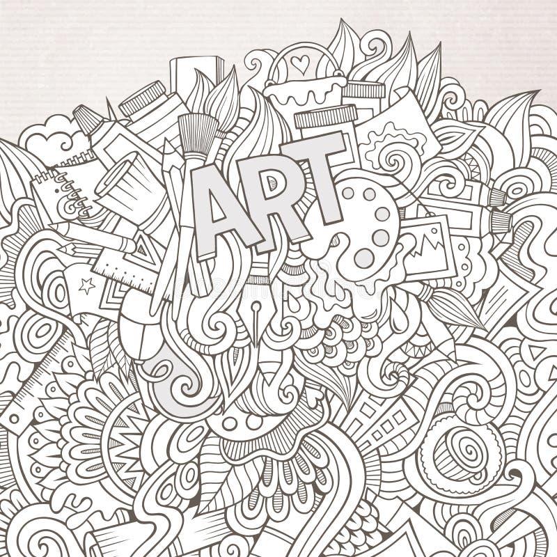 Konsthandbokstäver och klotterbeståndsdelbakgrund vektor illustrationer