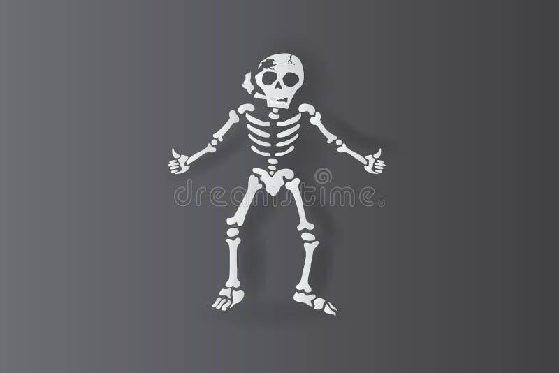 konsthantverk för papper 3d av skelett- mänskligt röka med tummar upp eller som begreppsisolat på svart bakgrund Den välkomna all royaltyfri illustrationer