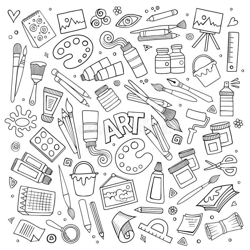 Konsthantverkvektorsymboler och objekt stock illustrationer